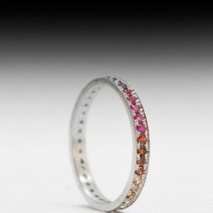 Jewelry - White Gold Gemstone Eternity Bands